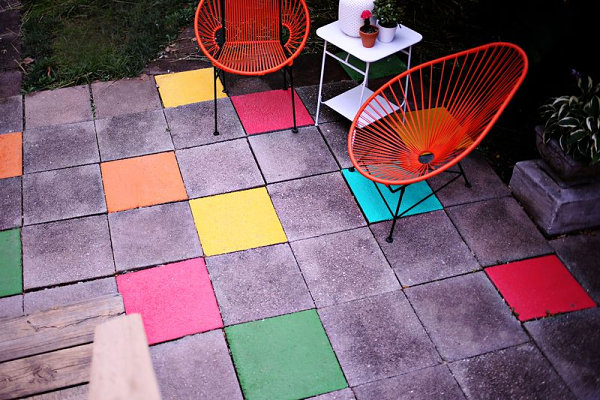 diy painted patio tiles