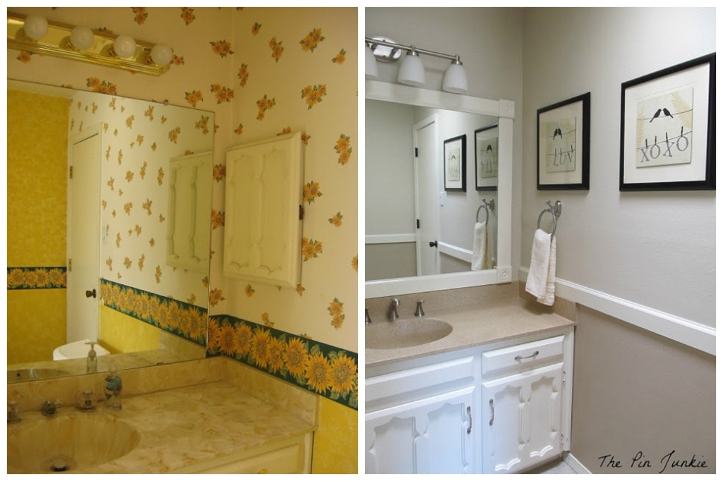Pin Junkie yellow bathroom makeover