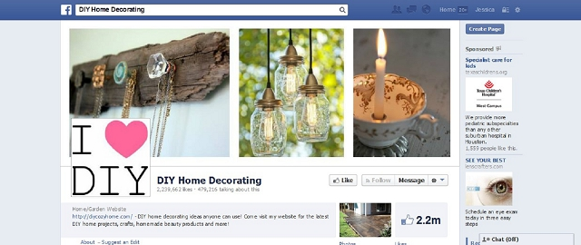 diy home decorating facebook page screen shot facebook pages for home improvement