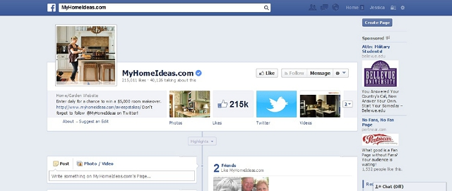 myhomeideas.com home improvement facebook page screen shot best facebook pages for home improvement