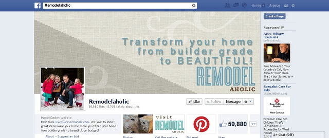 remodelaholic home improvement facebook page screen shot facebook pages for home improvement