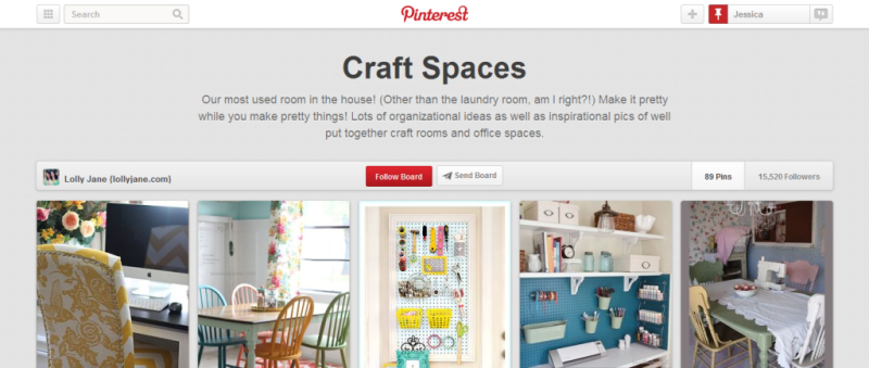 craft spaces pinterest board