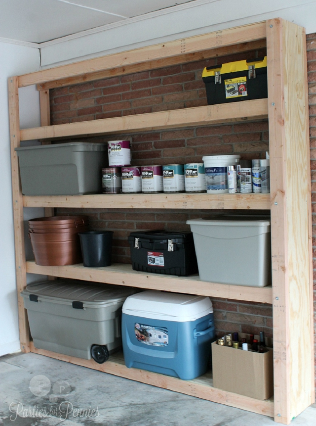 garage shelving unit organization plans from parties for pennies