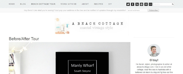 a beach cottage blog screen shot