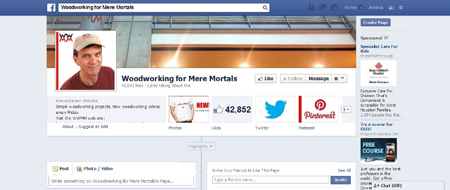 woodworking for mere mortals home improvement facebook page screen shot best facebook pages for home improvement