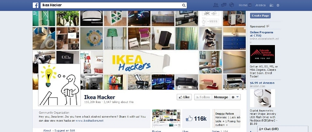ikea hacker home improvement facebook page screen shot facebook pages for home improvement