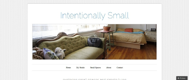 intentionally small apartment decorating blog screen shot