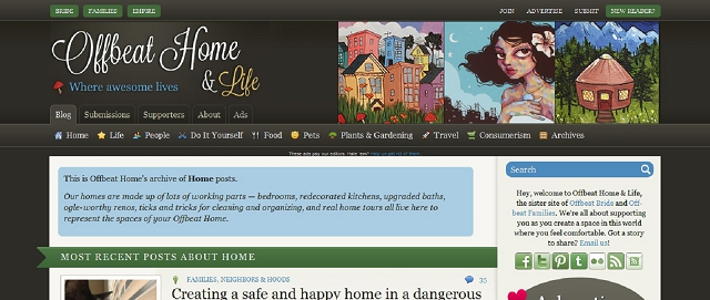 offbeat home and life apartment decorating blog screen shot