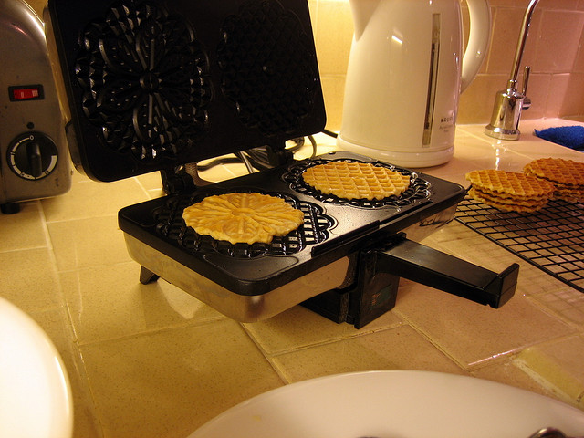 bake cookies in a waffle iron (photo by https://www.flickr.com/photos/waytru/)