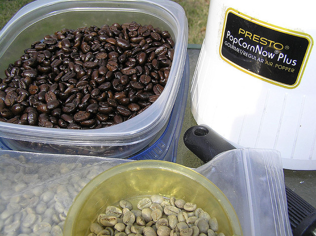 coffee beans in popcorn popper (photo by https://www.flickr.com/photos/freewine/)
