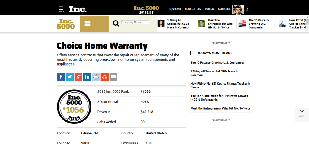 choice home warranty in the 2015 inc. 5000
