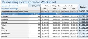 Home Repair Expense Worksheet