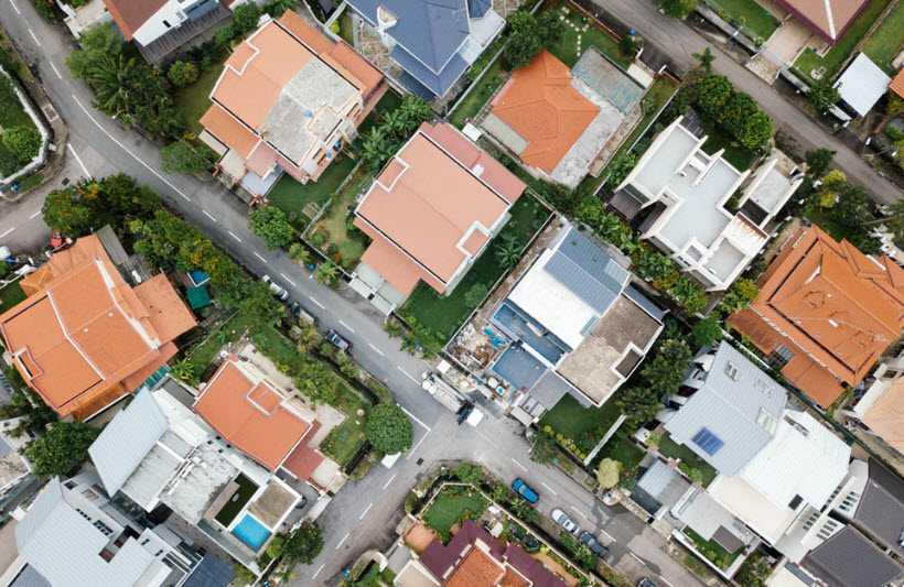 aerial view of kansas neighborhood