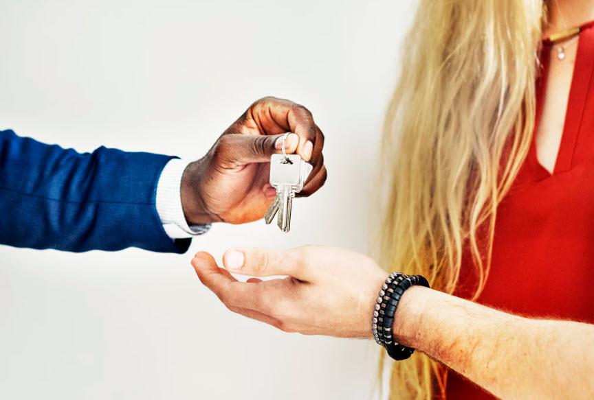 Homeowner getting keys to HUD home