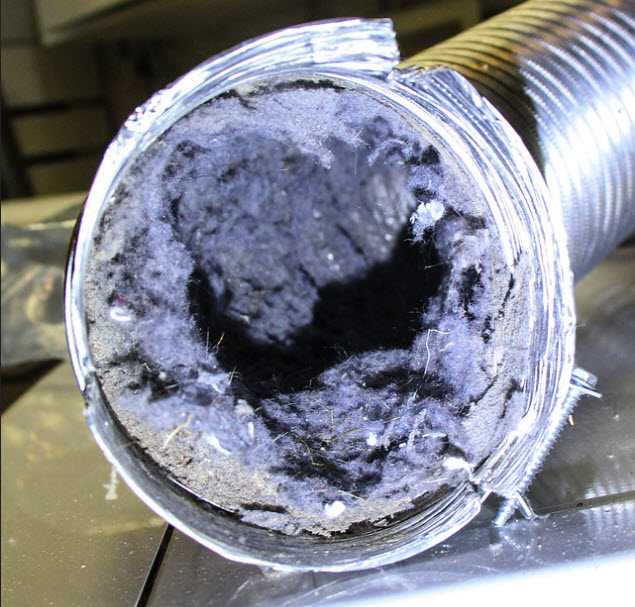 Cross-section of a dirty air duct